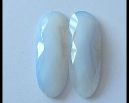 27.5ct Faceted Blue Lace Agate Cabochon Pair