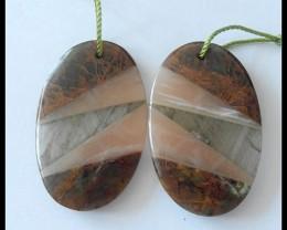 38Ct Natural Green Opal,Sunstone,Labradorite Intarsia Earring Beads
