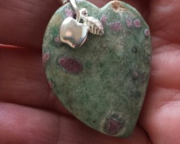 FUCHSITE WITH RUBY GEMSTONE CARVING SS925 BAIL