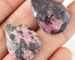 Genuine 45.75 Cts Checkered Cut Rhodonite Gemstone Pair