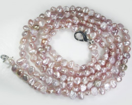 Stunning Pink nugget  pearl bead necklace AAT 670