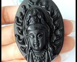140CT Obsidian Buddha Head Carving Pendant Beads