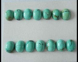 14 PCS Oval Turquoise Gemstone Cabochons ``41cts