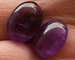 AMETHYST CABACHON 16.35 CTW DEEP PURPLE OVAL PAIR