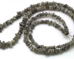 METALLIC SILVER GREY ROUGH DIAMOND STRAND 36 CTS SD-124