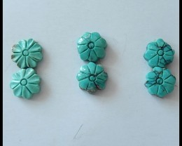 3 Pairs Turquoise Flower Carving Cabochons,18.5cts