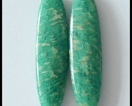 36.5Cts Natural Amazonite Pair