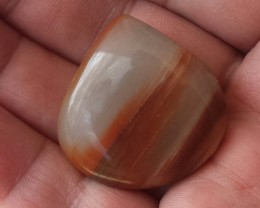 ORANGE AND WHITE BANDED LAKE SUPERIOR AGATE CABOCHON 74CTW