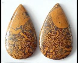 2 PCS Natural Calligraphy Stone Cabochons,116.5cts