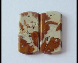 30.5cts Natural Owyhee Jasper Beads Pair
