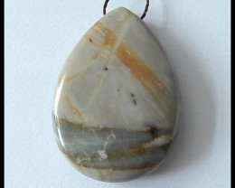 44.5cts Natural Picture Jasper Pendant Bead
