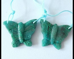 Pair Butterfly Chrysocolla Spring Beads,30cts