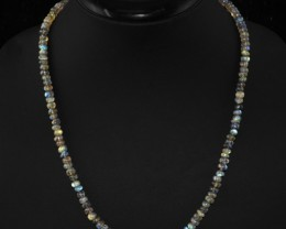 Genuine 95.00 Cts Untreated Blue Labradorite Beads Necklace