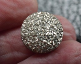15mm silver round druzy cabochon AAA quality 15mm by 4mm 9.50ct