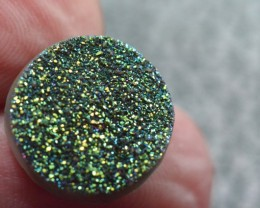 15mm green blue round druzy cabochon AAA quality 15mm by 4mm 9.70ct