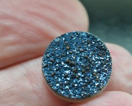 15mm blue round druzy cabochon AAA quality 15mm by 4mm 8.55ct