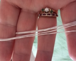 18 INCH LENGTH STERLING SILVER BOX CHAIN, NEW UNUSED AND BEAUTIFUL!!!