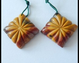Carved Mookaite Jasper Earring Beads Pair,48.75cts