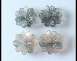 Flower Carving Fluorite Beads Pair,34.5cts
