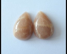 31ct Natural Sunstone Cabochon Pair,Pear Shaped