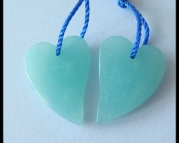 Sweety Heart Shape,19.7Ct Natural Skyblue Pure Amazonite Heart Shaped Earri