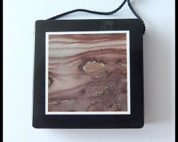 85.5cts Natural Chohua Jasper,Obsidian Intarsia Pendant Bead