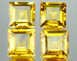 11.99 Cts Natural Beryl Golden Yellow 4 Pcs Parcel Square Cut Brazil Gem
