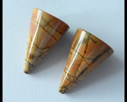 32Cts Natural Multi Color Picasso Jasper Pair