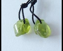 8Cts Natural Peridot Pair, Beads Pair