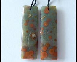 38Cts Natural Ocean Jasper Earring Beads