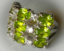 52.00CT SHINING PERIDOT RING - STERLING SILVER SIZE 8.5