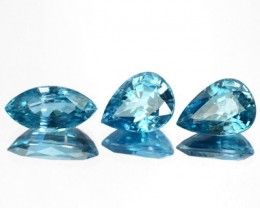 7.06 Cts Natural Sparkle Blue Zircon 3 Pcs SET Faceted Cambodia Gem