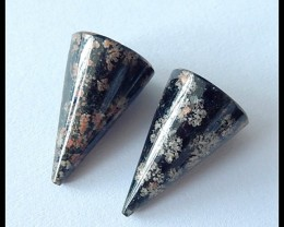 27.5Cts Spiker Snow Obsidian Earring Beads Pair(B180425)