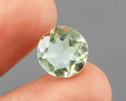Genuine 2.61 Cts Round Faceted Prasiolite( Green Amethyst) Gemstone
