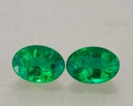 1.50ct TW 7x5mm Zambian Emerald Oval Cut Pair