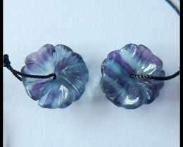 20cts Natural Fluorite Flower Beads Pair