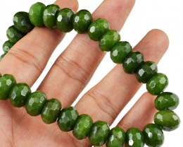 Genuine 410.00 Cts Green Garnet Faceted Beads Necklace