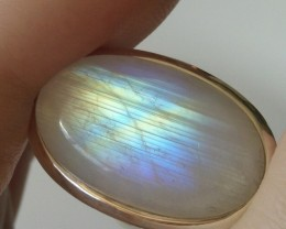 STRIKINGLY LOVELY MAJESTIC RAINBOW MOONSTONE STERLING SILVER RING SIZE 7.5