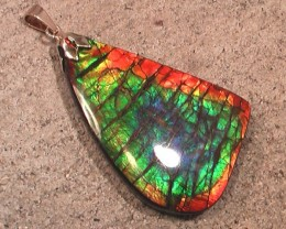 "GORGEOUS BIG RAINBOW AMMOLITE GOLD BAIL PENDANT Truly ""One of a Kind"