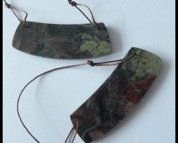 41.5cts Natural Dragon Bloodstone Earring Beads With Two Holes