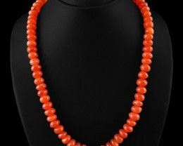 Genuine 440.00 Cts Orange Carnelian Untreated Beads Necklace