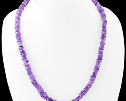 Genuine 210.00 Cts Purple Amethyst Untreated Beads Necklace