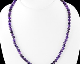 Genuine 205.00 Cts Purple Amethyst 108 Beads Necklace