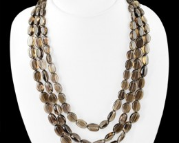 Genuine 530.00 Cts Smoky Quartz 3 Lines Beads Necklace