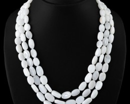 Genuine 510.00 Cts White Moonstone 3 Lines Beads Necklace