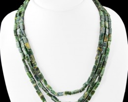 Genuine 315.00 Cts Green Jade 3 Lines Beads Necklace
