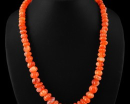 Genuine 390.00 Cts Orange Carnelian Carved Beads Necklace