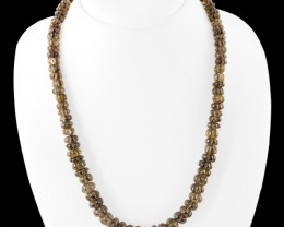 Genuine 255.00 Cts Smoky Quartz Carved Beads Necklace