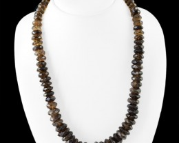 Genuine 595.00 Cts Smoky Quartz Faceted Beads Necklace
