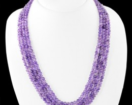 Genuine 310.00 Cts Purple Amethyst 4 Lines Beads Necklace